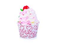 Gâteau de tasse avec la cerise Image libre de droits