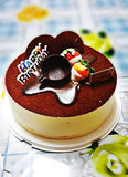 Gâteau de tiramisu d'anniversaire Image libre de droits