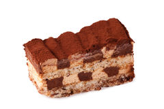 Gâteau de tiramisu d'isolement sur le blanc Photos stock