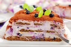 Gâteau de tiramisu de myrtille Photographie stock libre de droits