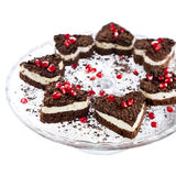 Gâteau de Valentine sous forme de coeur Photos stock