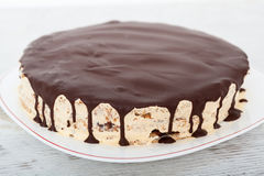 Gâteau de vanille, d'écrou et de chocolat Photo stock