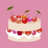 Gâteau doux avec l'illustration de vecteur de cerises illustration stock