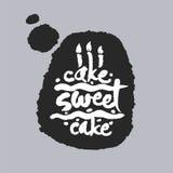 Gâteau doux de gâteau dans une bulle de la parole Photos libres de droits