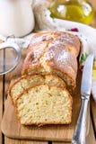 Gâteau doux de ricotta de fromage blanc avec l'huile d'olive Photographie stock