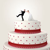 Gâteau drôle l'épousant Photo libre de droits