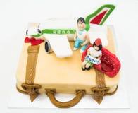 gâteau en forme de valise Photographie stock libre de droits