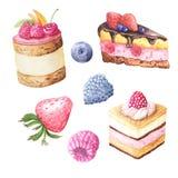 Gâteau et baies de fruit d'aquarelle illustration de vecteur