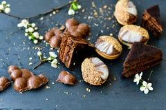 Gâteau et biscuits de Sacher Vienne de chocolat Photographie stock