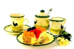 Gâteau et café de fruit Photo libre de droits