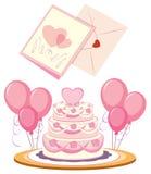 Gâteau et cartes de mariage illustration de vecteur