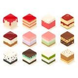 Gâteau et gelée mignons de cube photos stock