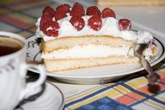 Gâteau et thé de framboise Photos stock