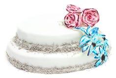 Gâteau fait main avec la décoration des fleurs Photo libre de droits