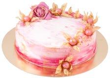 Gâteau fait main crème avec la fleur et le physalis Photo libre de droits