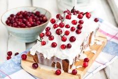 Gâteau fait maison délicieux de pain de canneberge Photographie stock libre de droits