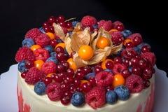 Gâteau fait maison de biscuit avec de la crème et des baies toned images stock