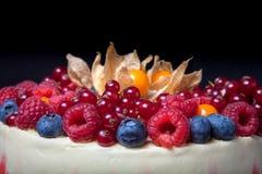 Gâteau fait maison de biscuit avec de la crème et des baies toned photographie stock libre de droits