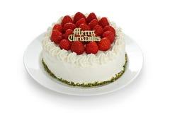 Gâteau fait maison de fraise de Noël Images stock