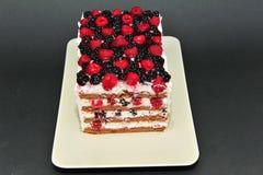 Gâteau fait maison de framboise et de mûre Photos libres de droits