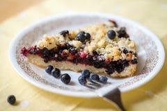 Gâteau fait maison de myrtille de plat Image libre de droits