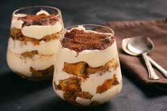Gâteau fait maison de tiramisu, dessert italien photographie stock libre de droits