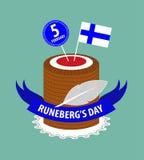 Gâteau finlandais décoré du drapeau finlandais Image libre de droits