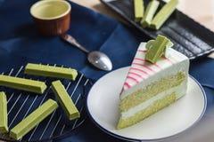Gâteau frais de thé vert de dessert doux délicieux de plan rapproché avec frais Photos stock