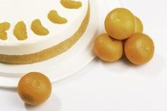 Gâteau - fromage fondu avec la mandarine Images stock