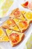 Gâteau fruité avec des oranges photo libre de droits