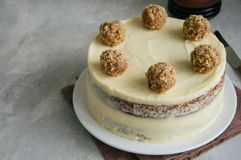 Gâteau fruité fait maison de colibri avec des épices et des noix de pécan, Rus photographie stock libre de droits