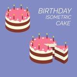 Gâteau isométrique d'anniversaire Gâteau isométrique de souffle avec des bougies et des fleurs de crème Tarte d'icône de lustre d illustration libre de droits