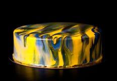Gâteau jaune et gris de mousse toned images libres de droits
