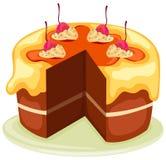 Gâteau la part étant coupée Photo stock