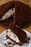 Gâteau lisse de tarte avec la banane image libre de droits