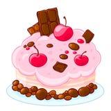 Gâteau mousseline délicieux de bande dessinée d'icône avec du chocolat, des dragées à la gelée de sucre et des cerises Festin pou Photos stock