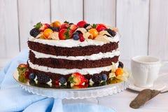 Gâteau nu avec de la crème images libres de droits