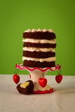 Gâteau nu Valentine Day Red Hearts de chocolat Image libre de droits
