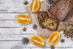 Gâteau orange avec la courgette et le chocolat Photos libres de droits