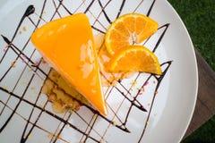 Gâteau orange de crêpe Image stock
