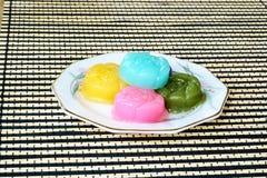 Gâteau ou Kanom doux Chan de couche thaïlandaise de dessert Image stock