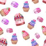 Gâteau, petit gâteau, aquarelle d'illustration de modèle de macarons sur le fond blanc illustration stock