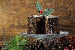 Gâteau riche épicé foncé de fruit de Noël Images stock