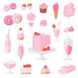 Gâteau rosâtre de vecteur rose de nourriture avec le dessert doux de fraise avec les boissons rosâtres sur l'ensemble de fille d' illustration stock