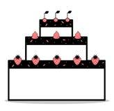 Gâteau rose blanc de noir abstrait de bande dessinée avec les cerises de fraises et l'illustration crème fouettée illustration stock