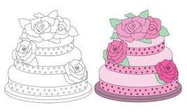 Gâteau rose de roses Image libre de droits