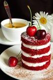 Gâteau rouge avec la cerise Image libre de droits