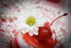 Gâteau rouge de fruit doux avec la cerise Photographie stock