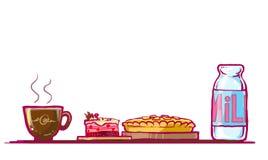 gâteau, secteur de chocolat et illustration de lait Image libre de droits