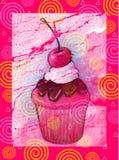 Gâteau sur le fond rose de Swirly Photographie stock